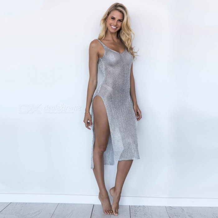 Sexy Net Yarn Loose Backless Deep Neck Robe Beach - Argent (M)