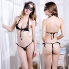Sexy Hot Open Crotch Three-Point Style Lace Bra With Thong Set - Black