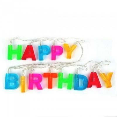 P-TOP Happy Birthday Letter 13-LED Warm White Flashing Lamp String