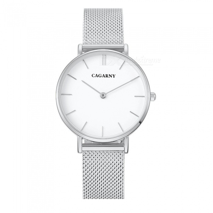 CAGARNY 6872 Stylish Womens Quartz Watch - Silver, WhiteQuartz Watches<br>Form  ColorWhite + SilverModel6872Quantity1 pieceShade Of ColorWhiteCasing MaterialAlloyWristband MaterialStainless steelSuitable forAdultsGenderWomenStyleWrist WatchTypeFashion watchesDisplayAnalogBacklightNoMovementQuartzDisplay Format12 hour formatWater ResistantFor daily wear. Suitable for everyday use. Wearable while water is being splashed but not under any pressure.Dial Diameter3.3 cmDial Thickness0.7 cmWristband Length23.5 cmBand Width1.4 cmBattery1 x SR 626SWPacking List1 x Watch<br>