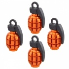 MZ Grenade Shape Aluminium Wheel Tire Air Valve Caps - Orange (4PCS)