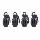 MZ Grenade Shape Aluminum Wheel Tire Air Valve Caps - Black (4 PCS)