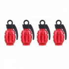 MZ Grenade Shape Aluminum Wheel Tire Air Valve Caps - Red (4 PCS)