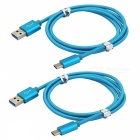 USB 3.1 Type-C to USB 2.0 Charging Data Cables - Blue (2 PCS, 1m)