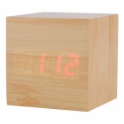 BSTUO Wooden Square LED Alarm Clock with Thermometer - Light Brown