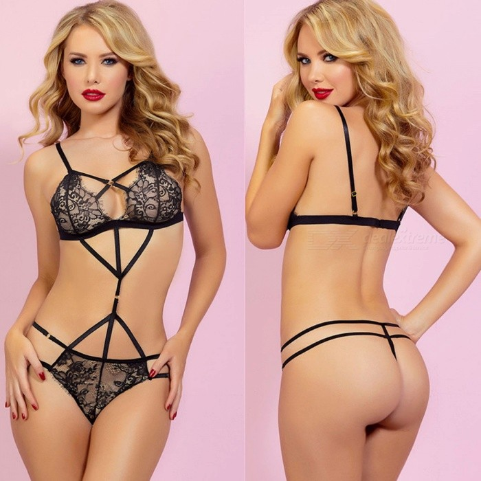 Sexy Three-Point Lace Siamese Perspective Underwear - Black