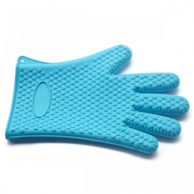 P-TOP Antiskid Microwave Oven Heat Insulation Silicone Glove - Blue