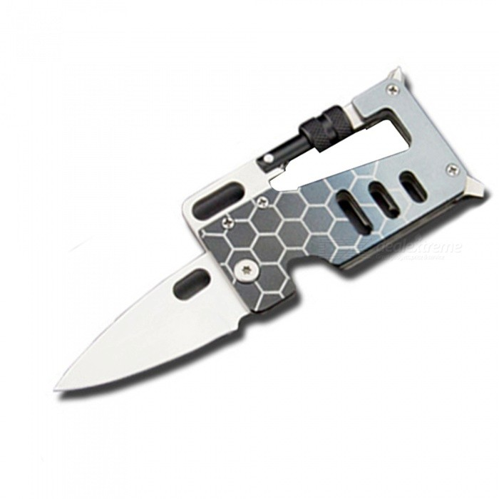 Portable EDC Tool 4-in-1 Mountaineering Buckle with Knife - Light Grey