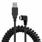 Cwxuan 3.1 Type C to USB 2.0 Spring Data Sync Cable - Black (1.2m)