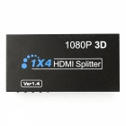 Full HD 3D 1080p HDMI Splitter 1 x 4 Hub Repeater Amplifier - Black
