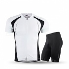 NUCKILY Summer Cycling Short-sleeved Jersey with Shorts - White (2XL)