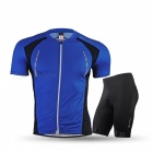 NUCKILY Summer Cycling Short-sleeved Jersey with Shorts - Blue (L)