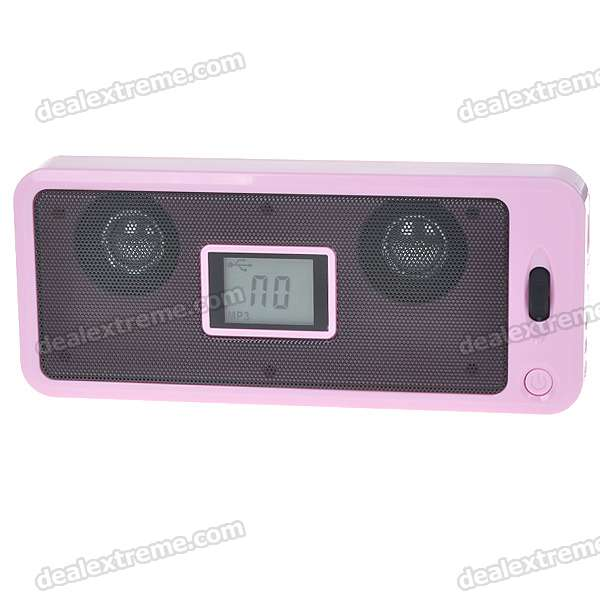 1.5 LCD Portable Rechargeable Battery Power MP3 Music Speaker with FM/SD/USB (Pink) stylish portable mp3 music speaker with fm radio sd slot usb host multi color led white