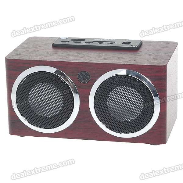 Portable USB Rechargeable MP3 Music Speaker with SD/USB/Remote Control (Brown)