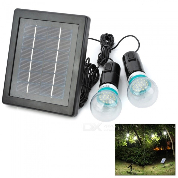 Solar Powered Rechargeable 3W 200lm 7000K 20-LED Dual E27 Bulbs