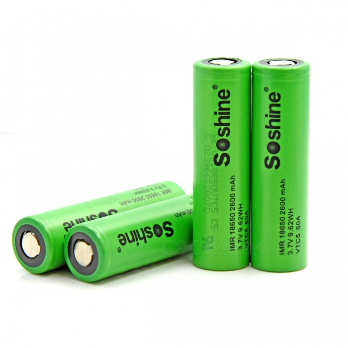 Batteries Soshine VTC5 60A 2600mAh Flat Top High Drain 18650 (4 PCS)