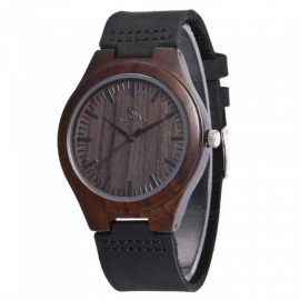 Redear 1448 Men's Natural Wooden Genuine Leather Quartz Wristwatch