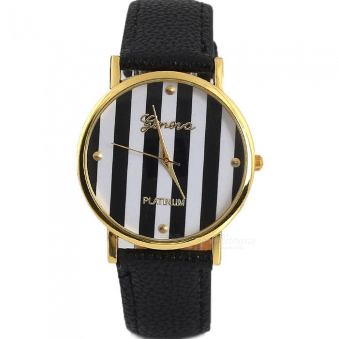 Personality Unisex Casual Leather Strap Wrist Watch - Black