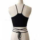 Sexy U-Shaped Neck Embroidered Strap Sleeveless Vest Tops (S)