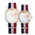 CAGARNY 2Pcs Fashion Couple Quartz Klockor med Nylon Rem - Guld