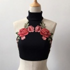Sexy Navel Straps Embroidered High Collar Vest Shirt - Black (M)