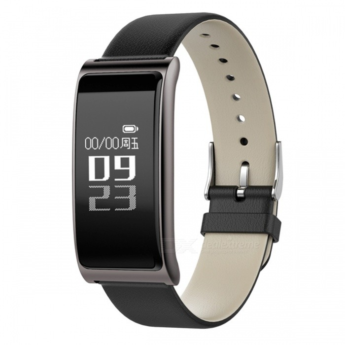 C9S Retro Leather Smart Bracelet with Heart Rate Monitor - Black