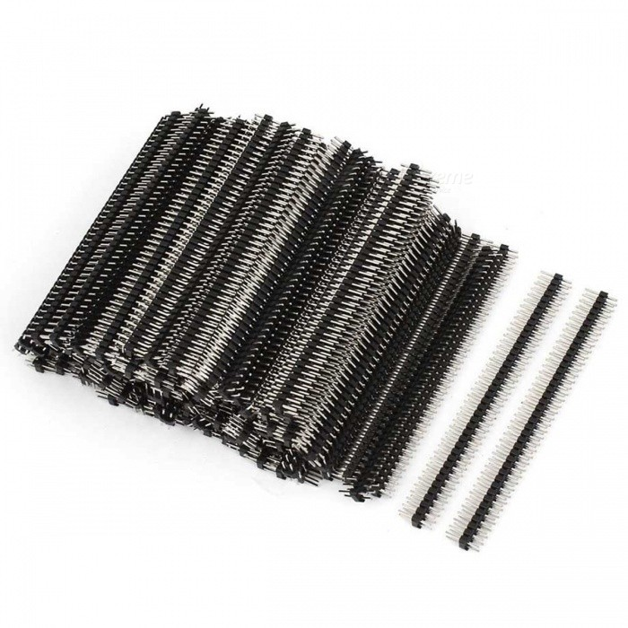100Pcs 40-Way Double Row Straight Pin Male Header Strips, 2.5mm Pitch