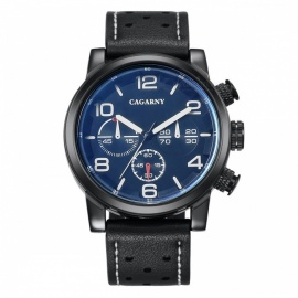 CAGARNY 6829 Casual Style Big Dial Men's Quartz Watch - Black, Blue