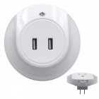 SZFC 2.1A Dual USB Charger, Warm White Night Light - White (US Plugs)