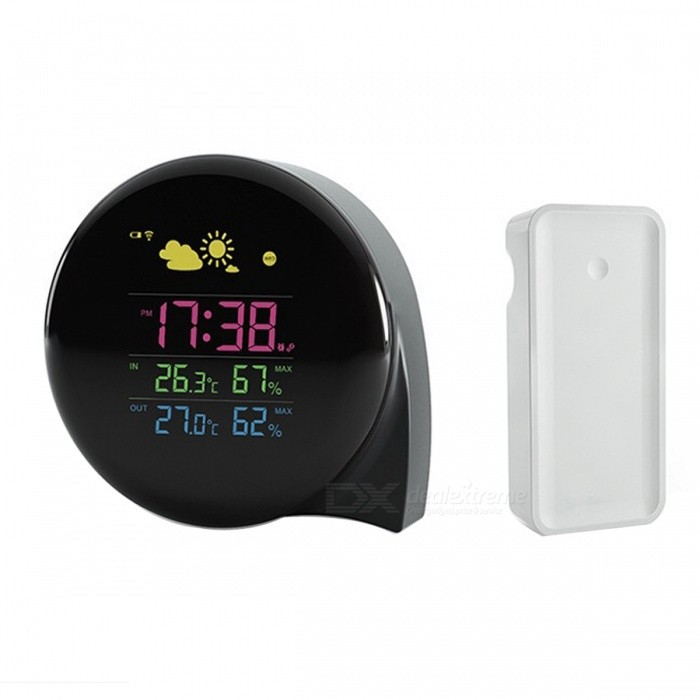 BSTUO LCD Weather Station Temperature Humidity Alarm Clock (US Plugs)desk clock<br>Form  ColorBlack (US Plugs)MaterialABSQuantity1 pieceVoice DecibelsN/AScreen TypeOthers,LCDBattery included or notNoPower SupplyAAABattery Number2Packing List1 x Weather station1 x Receiver 1 x USB cable (100cm)1 x Chinese English user manual1 x Charger adapter (US/100-240V/0.5A)<br>