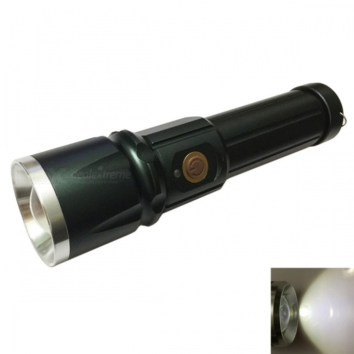 Ismartdigi S-002 Cold White Waterproof Zooming Flashlight with Battery18650 Flashlights<br>Form  ColorGreenBrandOthers,IsmartdigiModelS-002 GNQuantity1 setMaterialAluminum alloyOther FeaturesWaterproof,Zoom-to-throwEmitter BrandCreeLED TypeXM-LEmitter BINT6Number of Emitters1Color BINCold WhiteWorking Voltage   3.7~4.2 VPower Supply1 x 18650 (included)Current2.5 AOutput(lumens)1001 and aboveTheoretical Lumens1200 lumensActual Lumens1000 lumensRuntime(hours)2.1-3Runtime2-3 hoursNumber of Modes5Mode ArrangementHi,Mid,Low,Slow Strobe,SOSMode MemoryNoSwitch TypeClicky SwitchSwitch LocationSideLensGlassReflectorNoBeam Range150 mStrap/ClipStrap includedCertificationStrap Length:14cmPacking List1 x Flashlight1 x Battery1 x Strap<br>