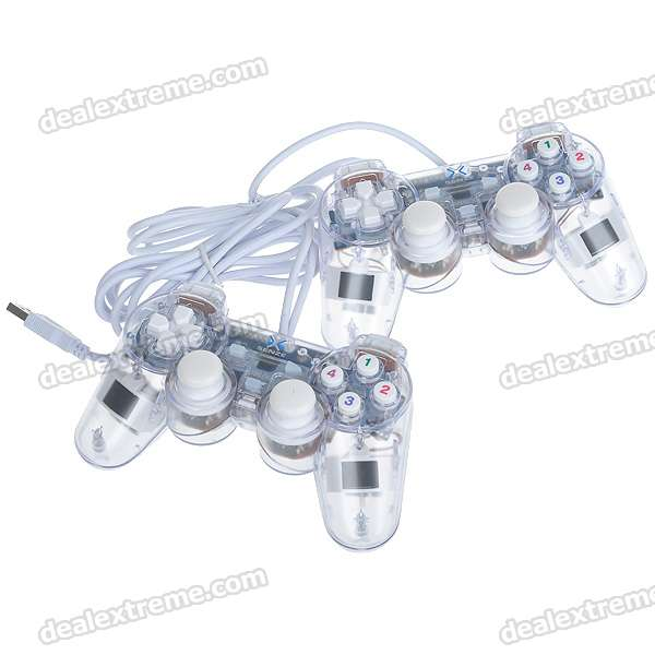 Dual Shock USB Vibrating Joypad Gamepads with Blue Light for PC - Transparent (Pair)