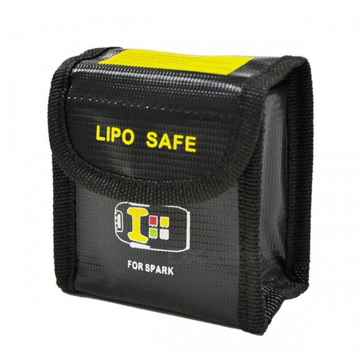 Explosion-Proof Fabric Storage Bag for RC Li-Po Battery 85 x 45 x 80mmOther Accessories for R/C Toys<br>Form  ColorBlack + Yellow + Multi-ColoredMaterialFireproof fabricQuantity1 pieceCompatible ModelRC Li-Po batteryPacking List1 x Bag<br>