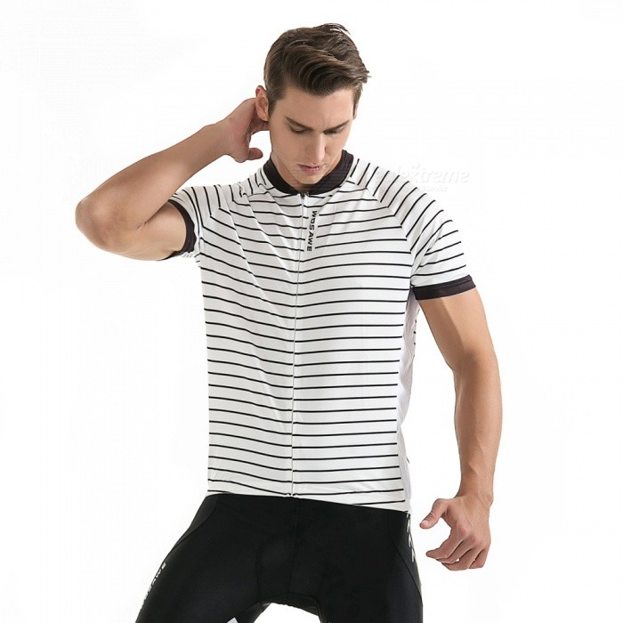 WOSAWE BC243 Unisex Short Sleeve Stripe Cycling T-Shirt - White (L)