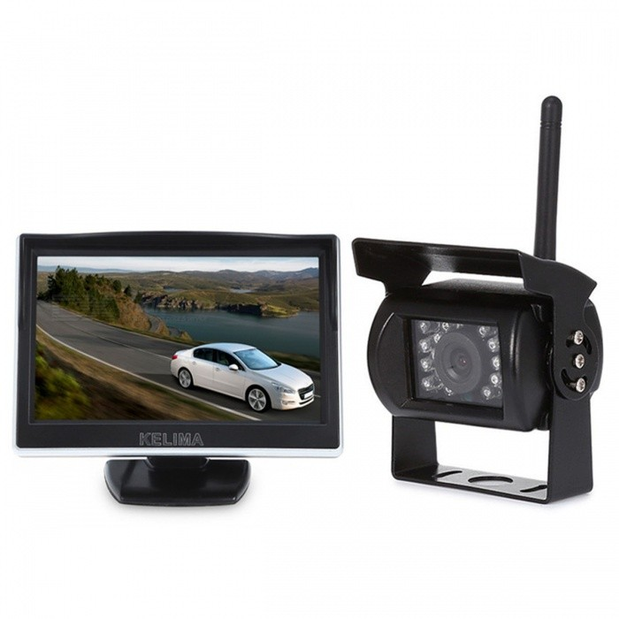 KELIMA 5-inch Wireless Car Display with 18 IR Night Vision CameraCar Monitors<br>Form  ColorBlackModelkelima-503Quantity1 setMaterialABSStyle1 Din In-DashScreen Size5.0 inchesScreen Resolution648 x 488Touch Screen TypeNoDetachable PanelNoBrightness ControlYesMenu LanguageOthers,NoFunctionRadioVideo SystemPAL,NTSCAudio Input1 channelVideo Input1 channelInterface/PortOthersHeadphone JackOthers,NoExternal Memory Max. SupportNo BPower Consumption5WWorking Voltage   12-24 VWorking Temperature-20~+75 ?Storage Temperature10-70CPacking List1 x 5-inch monitor1 x Car charger1 x Line (140cm) 2 x Brackets2 x Antennas1 x Camera1 x Power cord (100cm) 1 x Manual<br>