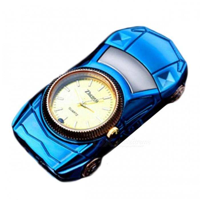 ZHAOYAO Car Shaped USB Cigarette Lighter Watch - Bluedesk clock<br>Form  ColorBlueMaterialZinc alloyQuantity1 pieceScreen TypeMirrorBattery included or notYesPower SupplyOthers,lithium batteryPacking List1 x Watch1 x Cable<br>
