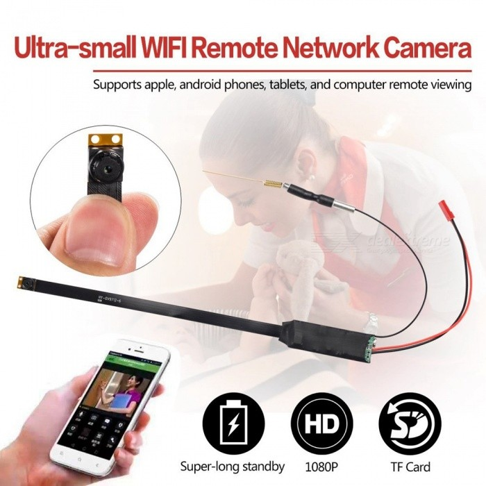 HD Ultra-Small DIY Mini P2P Wi-Fi Hidden Camera for PhoneCCTV Cameras<br>Form  ColorBlack + RedMaterialABSQuantity1 pieceImage SensorCMOSPower AdapterUSBPacking List1 x Mini Wi-Fi Camera1 x 2700mAh Battery1 x USB Cable1 x User Manual (English)<br>