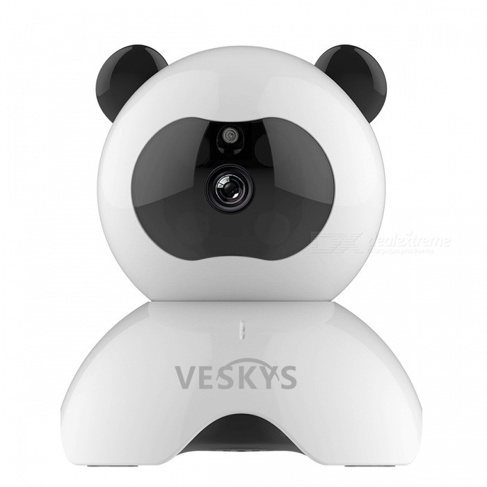 VESKYS 960P Smart Panda Wi-Fi Network IP Security Camera (EU Plug)IP Cameras<br>Form  ColorWhite + BlackPower AdapterEU PlugMaterialABSQuantity1 DX.PCM.Model.AttributeModel.UnitImage SensorCMOSImage Sensor SizeOthers,1/4inchPixels1.3MPLens3.6mmVideo Compressed FormatH.264Picture Resolution1280X960PFrame Rate25FPSInput/OutputBuilt-in microphone / Audio line-outMinimum Illumination0.1 DX.PCM.Model.AttributeModel.UnitNight VisionYesIR-LED Quantity6Night Vision Distance10 DX.PCM.Model.AttributeModel.UnitWireless / WiFi802.11 b / g / nNetwork ProtocolTCP,IP,HTTP,SMTPSupported SystemsWindows 2000,2003,XP,7Supported BrowserOthers,NOSIM Card SlotNoOnline Visitor4IP ModeDynamicMobile Phone PlatformAndroid,iOSSmart AlarmMotion Detection Mobile Remote ViewFree DDNSYesIR-CUTYesBuilt-in Memory / RAMNoLocal MemoryYesMemory CardTFMax. Memory Supported64GBMotorYesRotation AngleHorizontal:355 degree Vertical: 60 degreeSupported LanguagesEnglish,Simplified ChineseWater-proofNoRate Voltage5VIntercom FunctionYesPacking List1 x IP Camera 1 x EU plug power adapter (110~240V)1 x Data cable (100cm)1 x Holder stand 1 x Pack of installation accessories1 x English user manual<br>