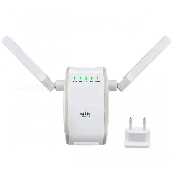SZFC 300Mbps Double Antenna Mini Wi-Fi Repeater (EU Plug)Routers<br>Form  ColorWhite + Grey + Multi-ColoredQuantity1 pieceMaterialABSShade Of ColorWhiteTypeRouterTransmission Rate300 bpsNetwork ProtocolsIEEE 802.11aWireless Data Rates300MUI LanguageEnglishSupport DD-WRTNoPacking List1 x Wireless-N Mini Rounter1 x Ethernet Cable1 x User manual<br>