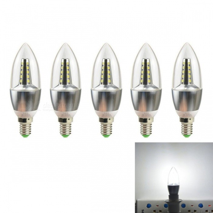 JRLED E14 5W 2835 25-LED Cold White LED Candle Lights - Silver (5 PCS)E14<br>Color BINSilver (Cold White Light)MaterialAluminum alloy +PCForm  ColorSilver + YellowQuantity5 piecesPower5WRated VoltageAC 220 VConnector TypeE14Chip BrandEpistarChip Type2835 SMDEmitter TypeOthers,2835 SMDTotal Emitters25Theoretical Lumens500 lumensActual Lumens400 lumensColor Temperature6000KDimmableNoBeam Angle360 °WavelengthN/ACertificationCE ROHSPacking List5 x E14 5W LED Bulbs<br>