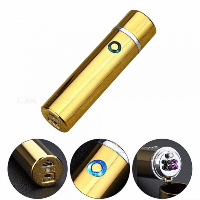 ZHAOYAO Double Arc USB Charging Windproof Cigarette Lighter - GoldenOther Lighters<br>Form  ColorGoldenMaterialMetalQuantity1 pieceShade Of ColorGoldTypeUSBWindproofYesPower SupplyLithium batteryCharging Time1.5 hoursPacking List1 x Rechargeable lighter1 x Charging line<br>