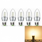 JRLED E27 5W 2835 25-LED Warm White LED Candle Lights - Silver 5PCS