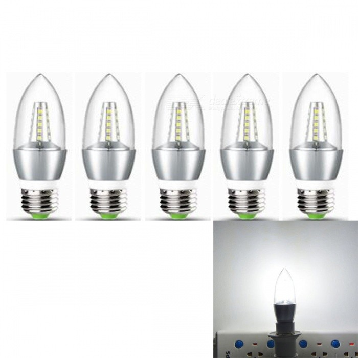 JRLED E27 5W 2835 25-LED Cold White LED Candle Lights - Silver 5PCSE27<br>Color BINSilver  Cold White MaterialAluminum alloy +PCForm  ColorSilver + YellowQuantity5 DX.PCM.Model.AttributeModel.UnitPower5WRated VoltageAC 220 DX.PCM.Model.AttributeModel.UnitConnector TypeE27Chip BrandEpistarChip Type2835 SMDEmitter TypeOthers,2835 SMDTotal Emitters25Theoretical Lumens500 DX.PCM.Model.AttributeModel.UnitActual Lumens400 DX.PCM.Model.AttributeModel.UnitColor Temperature6000KDimmableNoBeam Angle360 DX.PCM.Model.AttributeModel.UnitWavelengthN/ACertificationCE, RoHSPacking List5 x E27 5W LED lamps<br>