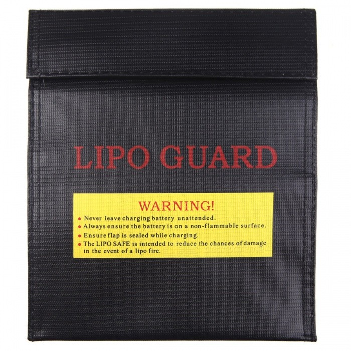 ENGPOW 18x23cm Fireproof Explosion-Proof Lipo Battery Bag - Black
