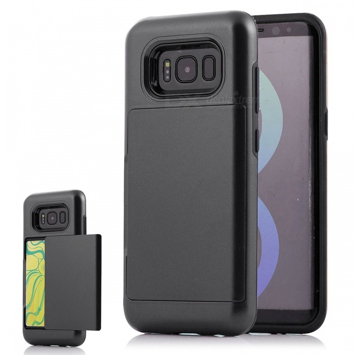 Premium PC, TPU Case with Card Slot for Samsung Galaxy S8 Plus - BlackPlastic Cases<br>Form  ColorBlackModelN/AMaterialPC + TPUQuantity1 DX.PCM.Model.AttributeModel.UnitShade Of ColorBlackFeaturesAnti-slip,Dust-proof,Shock-proof,Abrasion resistance,Easy-to-removeCompatible ModelsSamsung Galaxy S8 Plus / S8 EdgeOther FeaturesCard SlotPacking List1 x Case<br>