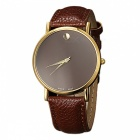 Unisex Simple Casual Style Two-Pointer Quartz Watch - Dark Brown