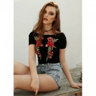 Sexy Round Neck Embroidered Short Sleeve T-shirt - Black, Red (S)