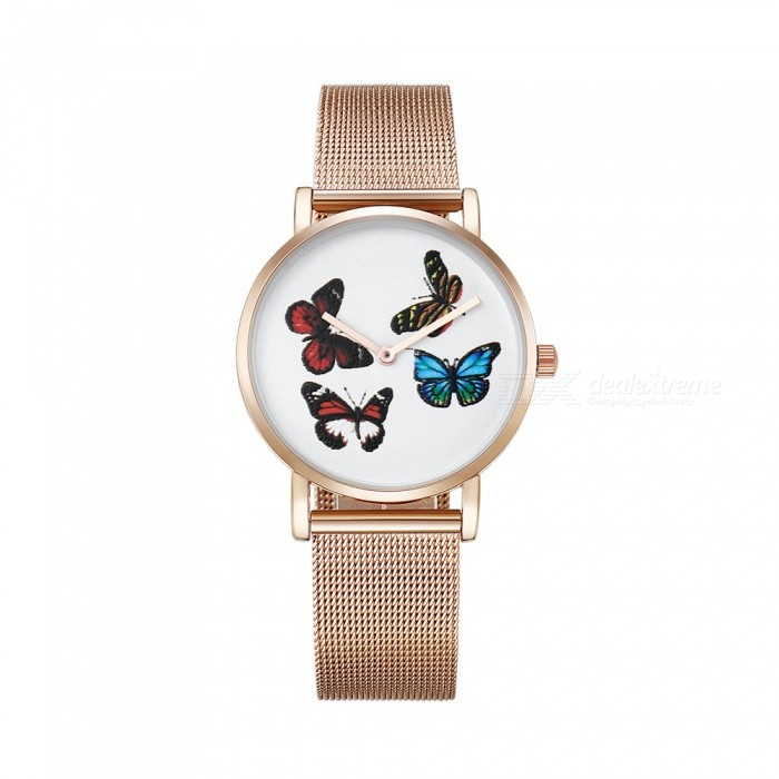 CAGARNY 6812 Womens Butterfly Pattern Quartz Watch - Rose GoldenWomens Dress Watches<br>Form  ColorRose Gold + RedModel6812Quantity1 pieceShade Of ColorGoldCasing MaterialAlloy + IP platedWristband MaterialStainless steelGenderWomenSuitable forAdultsStyleWrist WatchTypeFashion watchesDisplayAnalogBacklightNoMovementQuartzDisplay Format12 hour formatWater ResistantFor daily wear. Suitable for everyday use. Wearable while water is being splashed but not under any pressure.Dial Diameter3.6 cmDial Thickness0.8 cmBand Width1.8 cmWristband Length25.5 cmBattery1 x sr626swPacking List1 x Watch<br>