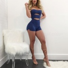 Sexy Milk Silk Hollow-Out Tube Top Slim Siamese Pants - Blue (L)