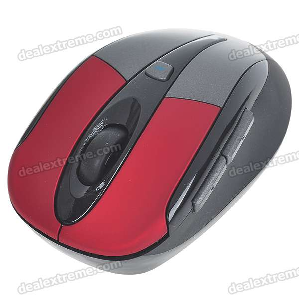 2.4GHz Wireless 1600DPI Optical Mouse with USB Receiver - Black + Red (2*AAA)